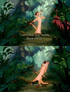 "Timon and Pumbaa sings a short part of ""the lion sleeps tonight"" in Disney's Lion King! Simba Disney, Old Disney, Disney Lion King, Disney And Dreamworks, Disney Pixar, Disney Characters, Lion King Quotes, Lion King 3, The Lion King 1994"