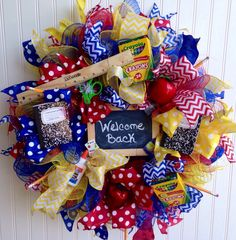 A personal favorite from my Etsy shop https://www.etsy.com/listing/469036655/teacher-wreath-back-to-school-wreath