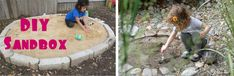 I love the tiny hidden one on the right. Good summer project. Childhood 101 | Outdoor play - tips for building a sand box