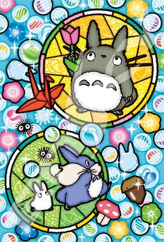 Totoro and Glassy Marbles Studio Ghibli Art, Studio Ghibli Movies, Stained Glass Designs, Stained Glass Art, Mononoke Anime, Anime Japan, My Neighbor Totoro, Hayao Miyazaki, Anime Figures