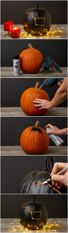 DIY this easy constellation pumpkin jack o'lantern, just in time for Halloween!