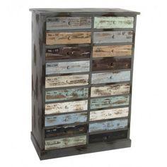 Mueble con 20 cajones madera multicolor desgastado industrial
