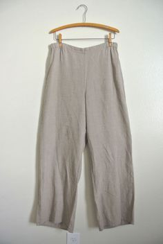 FLAX Lagenlook Palazzo Sz: SMALL 100% Linen WIDE LEG PANTS Trouser #FLAX #WideLeg