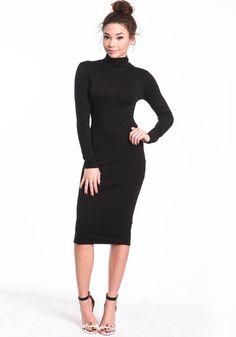 Turtleneck Midi Dress, BLACK, large
