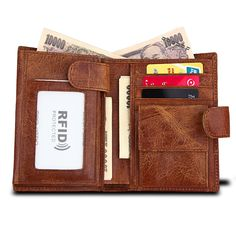 Men/'s Natural Leather wallet credit cards id windows Trifold RFID handmade Davis