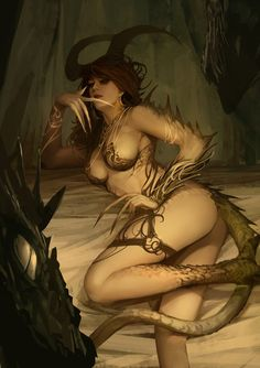 """Dragon girl"" by Saryth Chareonpanichkul on DeviantArt. (tags: art, demon, horns, claws, tail)"