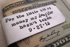 Awwww.. Father of the Bride Gift  - Personalized Money Clip - Aluminum Money Clip - Father Daughter on Etsy