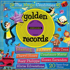 Little golden records re-released at wal-mart. Celebrities reading classic little golden books and singing songs on cd... Would be great for car instead of a DVD