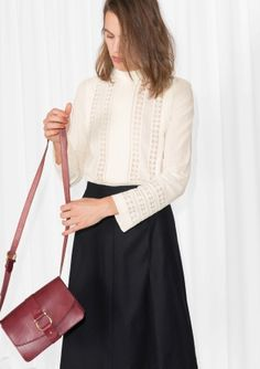 & Other Stories   Lace Panel Cotton Blouse