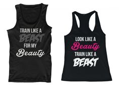 365 In Love His and Her Matching Tank Tops Look Like A Beauty Train Like A Beast, Train Like A Beast For My Beauty Couples Sleeveless Tops
