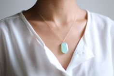 Mint Druzy Stone Gold Necklace - 14k Gold Filled Chain
