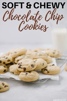 These Soft and Chewy Chocolate Chip Cookies are on the sheet pan in less than 5 minutes. It's a quick and easy chocolate chip cookie recipe with one special ingredient that makes them ultra-chewy. #chocolatechipcookies #chocolatechipcookies #softchocolatechipcookies #chocolatechipcookiesrecipe Delicious Cookie Recipes, Easy Cookie Recipes, Yummy Cookies, Bar Recipes, Dessert Recipes, Dessert Ideas, Baking Recipes, Keto Recipes, Homemade Muffins