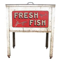 Vintage Fresh Fish Country Store Market Sales Case from on Ruby Lane Country Store Display, Fresh Market, Sales And Marketing, Ruby Lane, Salt, Typography, Ocean, Fish, Type
