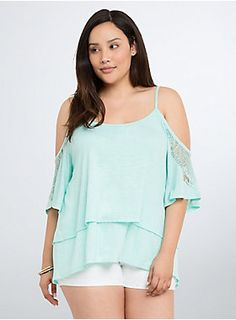 """<p>This loose and lightweight mint green knit top layers up and boogies down with bohemian-inspired cold shoulder cutouts. The vibrant knit doubles the comfort (check out the layered swing) while the lace trim on the sleeves demands a night out.</p>  <p></p>  <p><b>Model is 5'10"""", size 1</b></p>  <ul> <li>Size 1 measures 27 1/4"""" from shoulder</li> <li>Polyester/rayon/nylon</li> <li>Wash cold, dry flat</li> <li>Imported plus size top</li> </ul>  <p></p>"""