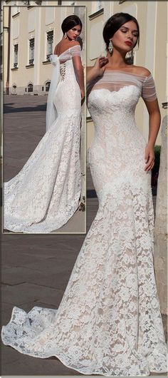 Elegant Tulle & Lace Mermaid Wedding Dress With Lace Appliques