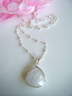 Beautiful Moonstone pendant on sterling silver chain.