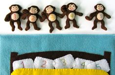 5 Little Monkeys Quiet Book Page Pattern with by ImagineOurLife