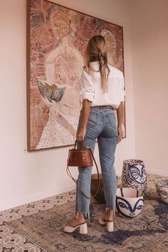Spring Outfits With Jeans - Casual Chic ♥ - Women Fashion Easy Style, Style Cool, Looks Style, Look Cool, Mode Outfits, Jean Outfits, Fashion Outfits, Fashion Tips, Fashion Hacks