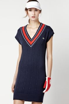 Lacoste Short Sleeve Cotton Cable Knit Sweater Dress : Dresses
