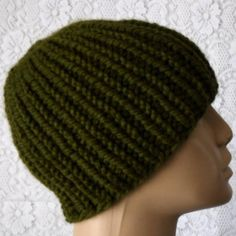 Olive green beanie hat or skull cap hand knit in an acrylic/wool blend yarn.... #beanie #skullcap #olivegreen #greenhat #winterhat #skiing #snowboarding #biker #hiking #skateboarding #musician #football #hockey #staywarm #knittersofinstagram #knitting #knittinginspiration
