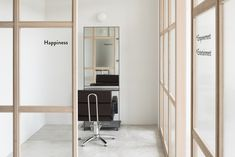 Canoma's Communal Salon in Tokyo Embodies Its Design Philosophy Japanese Hair Salon, Plywood Storage, Wooden Partitions, Freestanding Mirrors, Retail Facade, Hair Salon Interior, Japanese Hairstyle, Scandinavian Furniture, Living Room Remodel