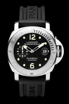 PANERAI LUMINOR SUBMERSIBLE (Ref PAM 24)   The Luminor Submersible is an automatic chronometer, a modern evolution of a model created in 1956 by the Egyptian Navy. This stainless steel watch measures an impressive 44mm, is water resistant to 1,000 feet and features ample luminescent coating across the dial for easy reading at depth.