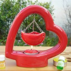 Very Pretty Handcrafted Romantic Red Love Heart Color Ceramic Fragrance Oil Burner with Mini Hanging Bowl Aromatherapy Containers.