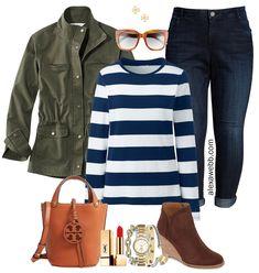 Plus Size Preppy Outfit - Plus Size Striped Top, Utility Jacket, Striped T-Shirt, Boyfriend Jeans, B Preppy Look, Preppy Style, Preppy Outfits, Fall Outfits, Sweatshirt Outfit, T Shirt, Shirt Jacket, Striped Top Outfit, Olive Jeans