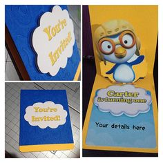 Pororo the Little Penguin Pop-up birthday invitation 2nd Birthday, Birthday Ideas, Birthday Parties, Party Themes, Party Ideas, Youre Invited, Penguin, Birthday Invitations, First Birthdays