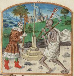 Triboulet, Complainte contre la mort: Discours of Triboulet to Death // Courtjester Triboulet encounters Death. The Hague, KB, 71 G 61  Приблизительно 1500 г.