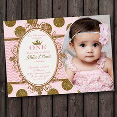 PRINCESS BIRTHDAY INVITATION Princess Invitation First Birthday pink