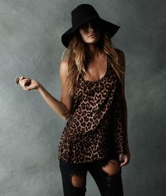 One Teaspoon - Whiskey, Mystics & Men Collection; black floppy hat, leopard animal print tank, black ripped flared jeans