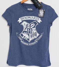 Hogwarts T-shirt (gift idea)  PRIMARK HOGWARTS T SHIRT HARRY POTTER CREST BLUE MARL Tee 6-20