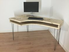 Reclaimed Pine Curved Box Desk Solid Wood by Kowoodworksltd