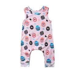 Summer 0-24M Newborn Baby Boys Girls Romper Sleeveless Whale Jumpsuit Outfits Rompers Round Neck Easter Egg Playsuit