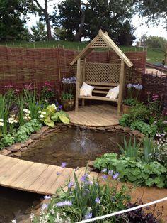 Show garden with great seating idea Southport Flower Show, Garden Bridge, Outdoor Spaces, Design Projects, Gazebo, Garden Design, Porch, House Ideas, Deck