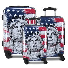 Lady Liberty painted with the proud stars and stripes, travel coast to coast with this patriotic luggage set. With the same spinner case as Chariot Travelware's iconic pet collection, Liberty features all of the travel additions you would need: Polycarbonate/ABS shell for a durable travel experience, TSA-approved 3-digit integrated lock, and four spinner easy-glide wheels for ease of motion during travel. So give me Liberty, or give me death! Kids Luggage Sets, My Liberty, Hardside Spinner Luggage, Shells, Coast, Abs, Stripes, Travel, Collection