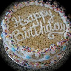 Rice Krispie Cake - use gluten free Rice Krispies, Marshmallow Fluff Icing, and Skittles :)