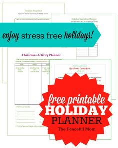 Save money and stress this holiday season by printing  this FREE Stress Free Holiday Planner including my exclusive Holiday Snapshot, Holiday Spending Plan, Christmas Activity Planner & more. -- from ThePeacefulMom.com