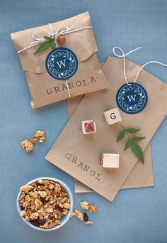 Granola Wedding Favor Packages:  I thought this was a lovely way to package up favors.  This has granola in it but you could use the wrapping style for any small favor.  Maybe put a lovely sticker where the monogram label is.