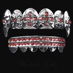 SILVER STYLE! Blood Red Dracula VAMPIRE FANG GRILLZ fake teeth HALLOWEEN COSTUME! Buy now from ebay seller: wholesale_grillz and follow us wholesale grillz