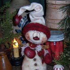 Primitive-Frosty-Snowflake-Winter-Ornie-9-Snowman-Doll-Vtg-Pattis-Ratties