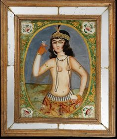 Islamic Persia: Qajar Glass painting Depicting a Maiden With a Glass of Wine