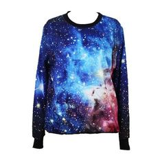 Tparis Galaxy Patterned Sweatshirts Printed Colorful Pullovers Women... (115 DKK) ❤ liked on Polyvore featuring tops, shirts, sweaters, sweatshirts, multi colored shirt, pullover tops, galaxy top, multi color shirt and sweater pullover