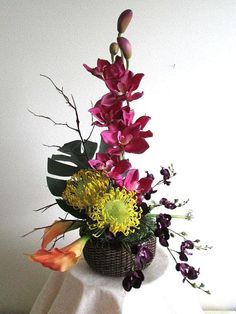 High Style Tropical Floral: Fuschia Cymbidium Orchids Yellow by FloralsWithFlair, $95.00