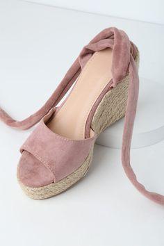 53d393d190 Cute Mauve Espadrilles - Wedge Sandals - Espadrille Sandals