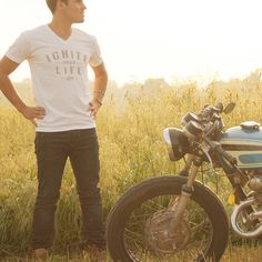 """""""Ignite Your Life"""" Cafe Racer Inspired Premium V-Neck Tee by Iconic Moto Culture"""