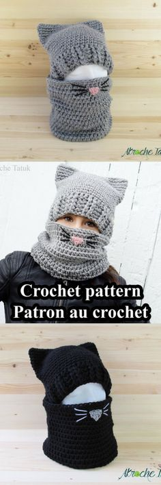 Cat hat crochet pattern. So cute and warm! love this idea maybe without the ears thow