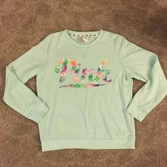 🌺Victoria's Secret PINK Tropical Mint Crew🌺 Worn once but still excellent condition! Size large! PINK Victoria's Secret Sweaters Crew & Scoop Necks