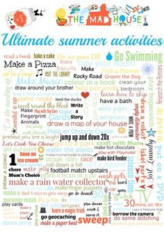 Ultimate summer activities poster. Why not download your ultimate summer activities free printable and make this a summer to remember with the kids. Over 100 summer activities for your bored jar
